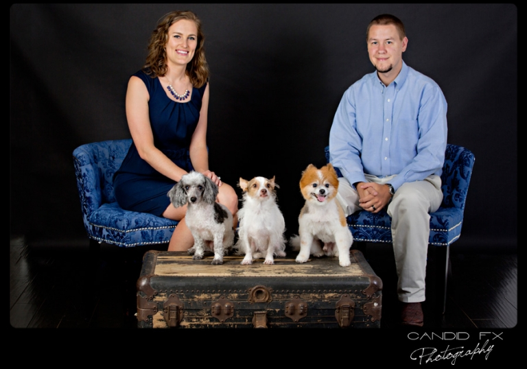 Studio Portrait Session with Melissa, Daniel, and their Fur Babies!